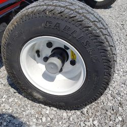 Foam filled flat proof tires on the caiman magnetic sweeper