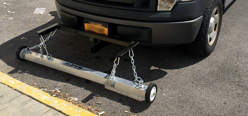 Pyr 62 3x3 front receiver hitch mounted magnetic sweeper