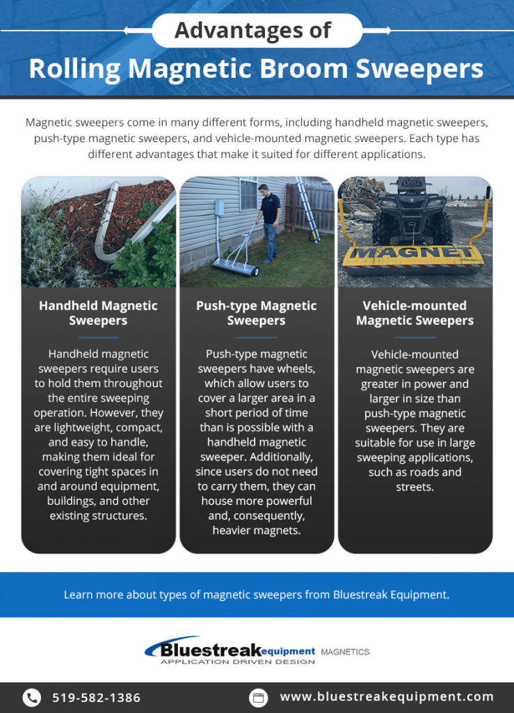 Advantages of Rolling Magnetic Broom Sweepers infographic