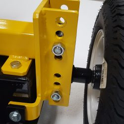 Upland sweeping height adjustment mechanism from 1 to 4 inches