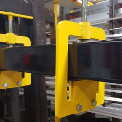 Upward clamping fork pockets on Upland magnetic sweeper